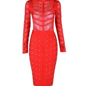 Long Sleeve Studded Mesh Midi Bandage Dress  FUSHI